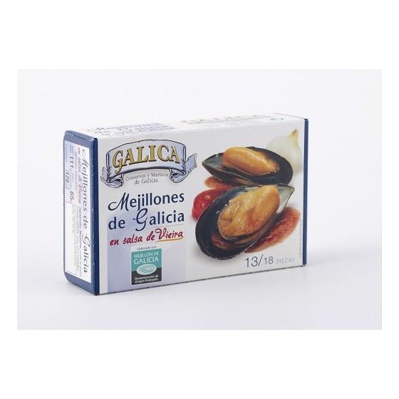 Mejillones en salsa de Vieira 13/18 Piezas Galica 120grs