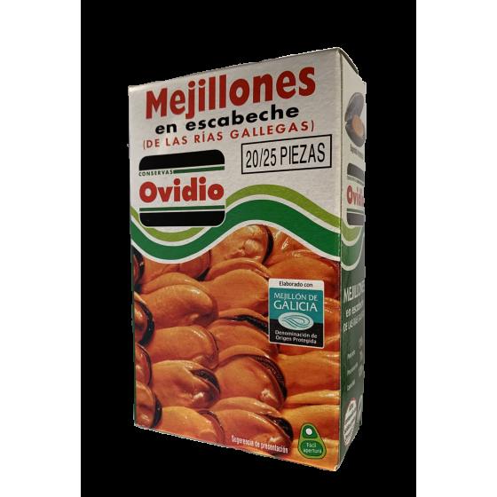 Mejillones en escabeche Ovidio (D.O. De las Rias Gallegas) 20/25 Piezas-3Latas